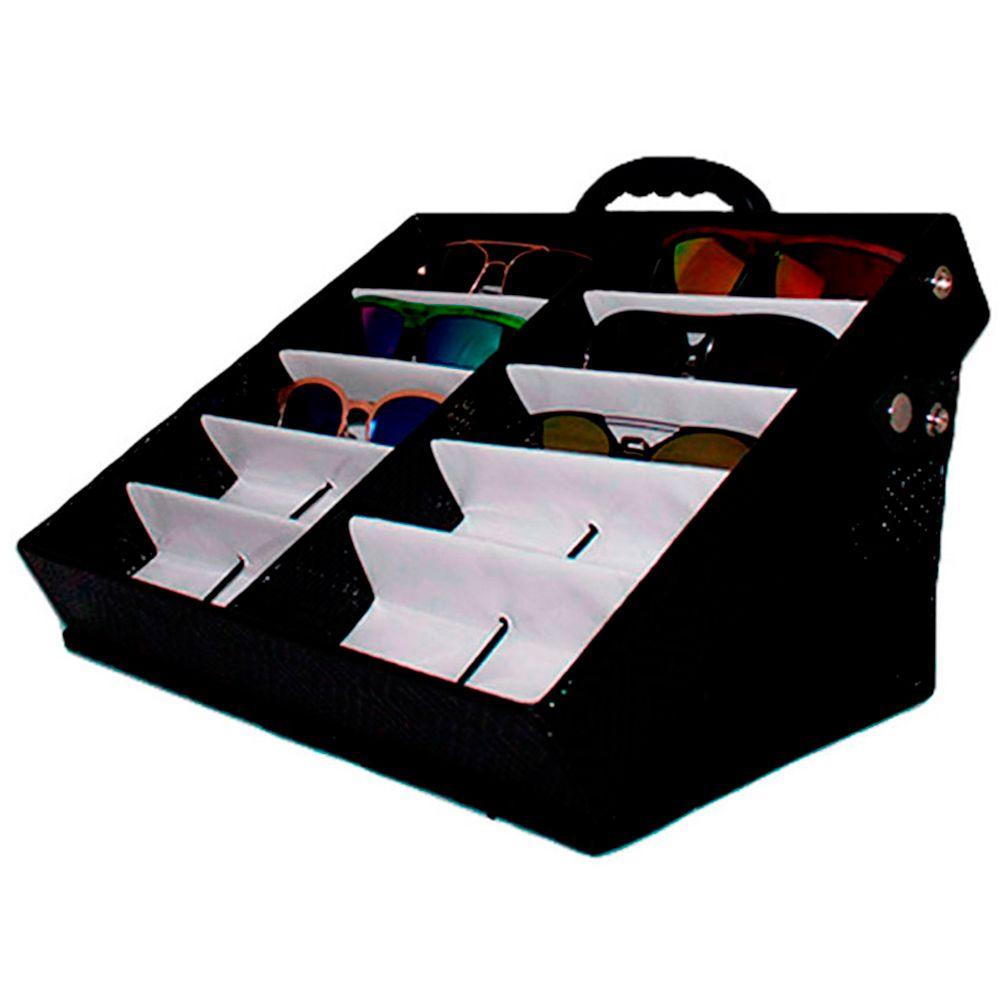 Maleta Expositora para 10 Óculos com Alça e Suporte MS210C Preta