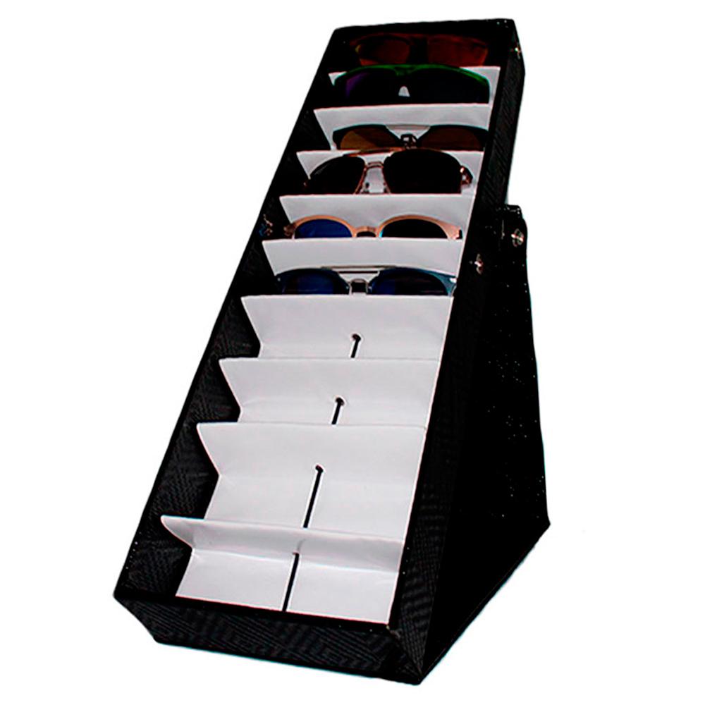 Maleta Expositora para 10 Óculos com Suporte MS110C Preta