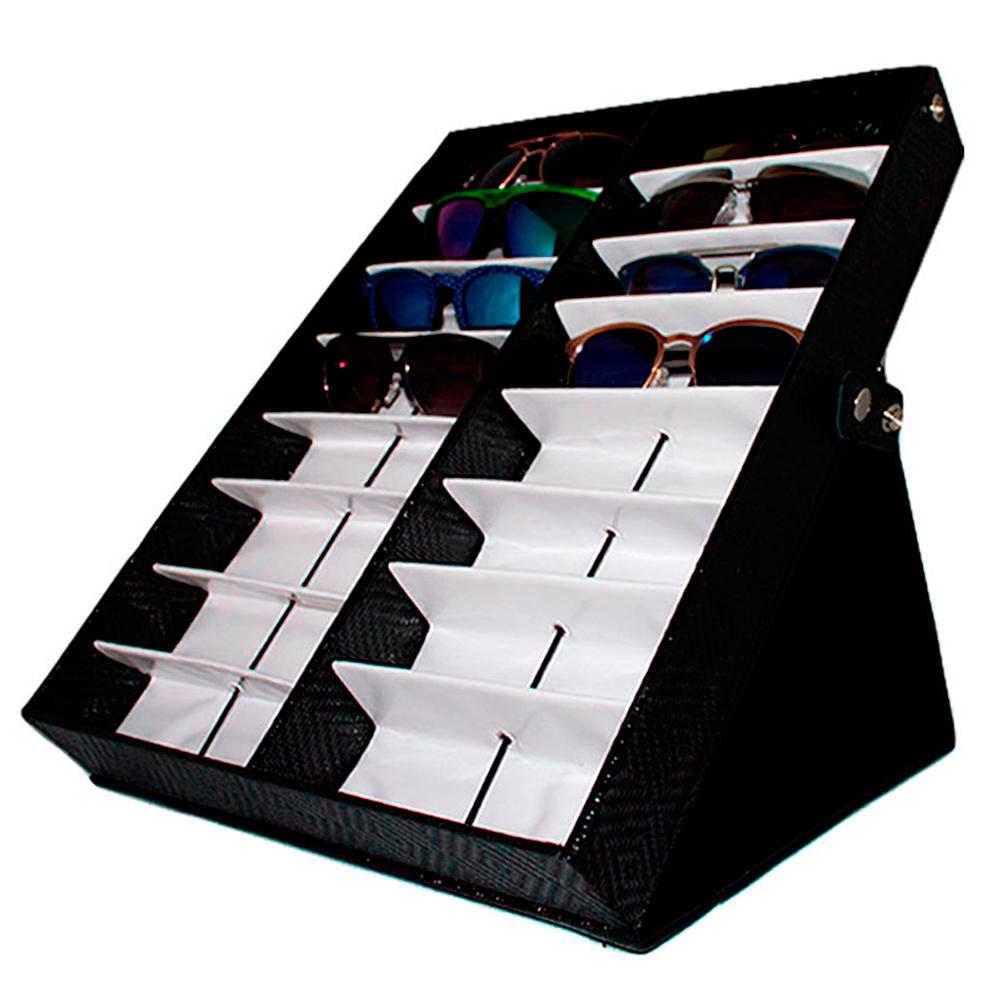 Maleta Expositora para 16 Óculos com Suporte MS16C Preta