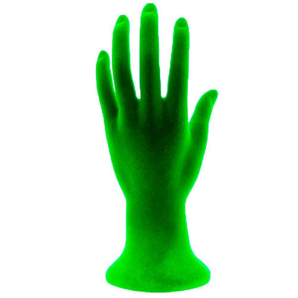 Mão Manequim para Exposição de Jóias Flocada 100447 Verde
