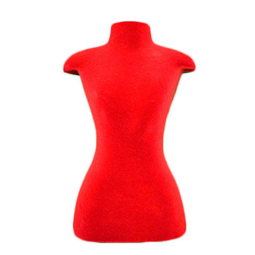 Mini Busto Manequim Feminino sem Braço para Exposição E-62 Flocado Vermelho