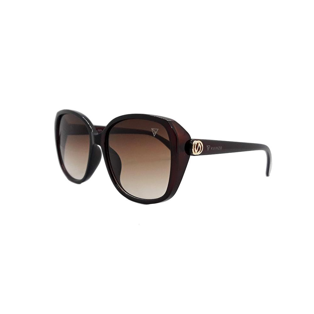 Óculos Solar Feminino 0371 Marrom Vianzo com Estojo