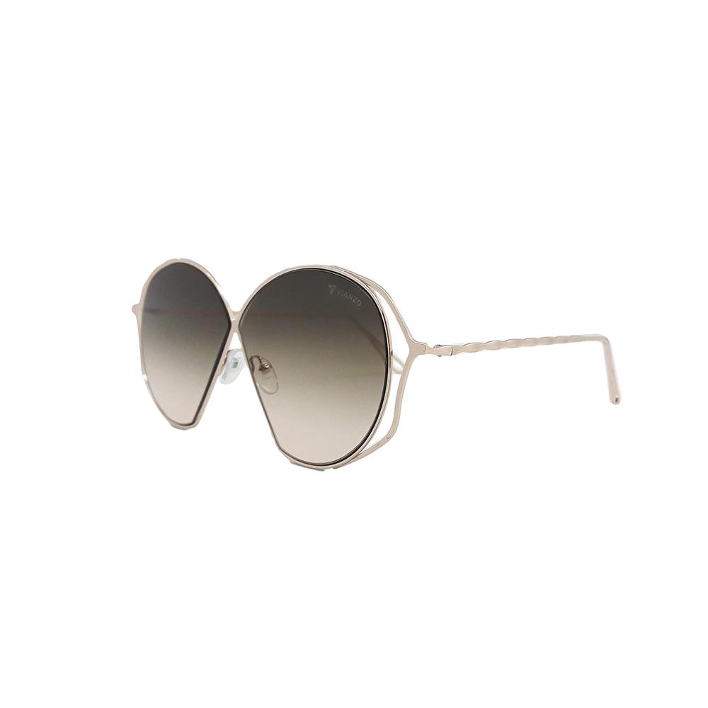 Óculos Solar Feminino E18007 Marrom Vianzo com Estojo