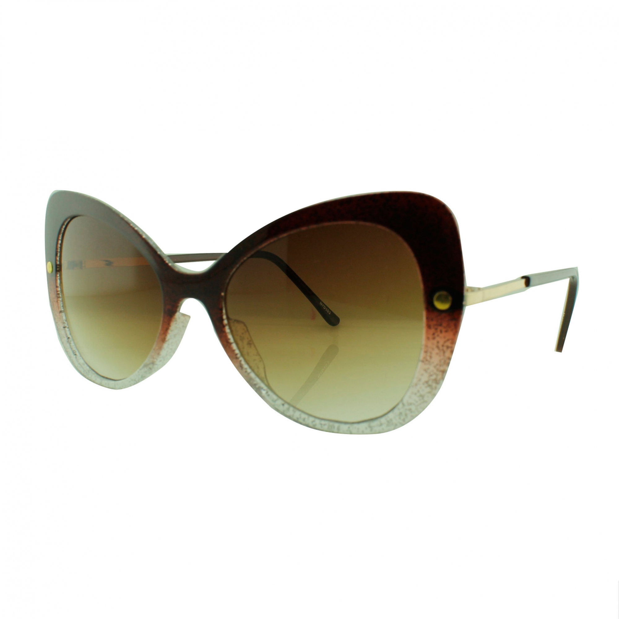 Óculos Solar Feminino NYD103 Vinho com Glitter