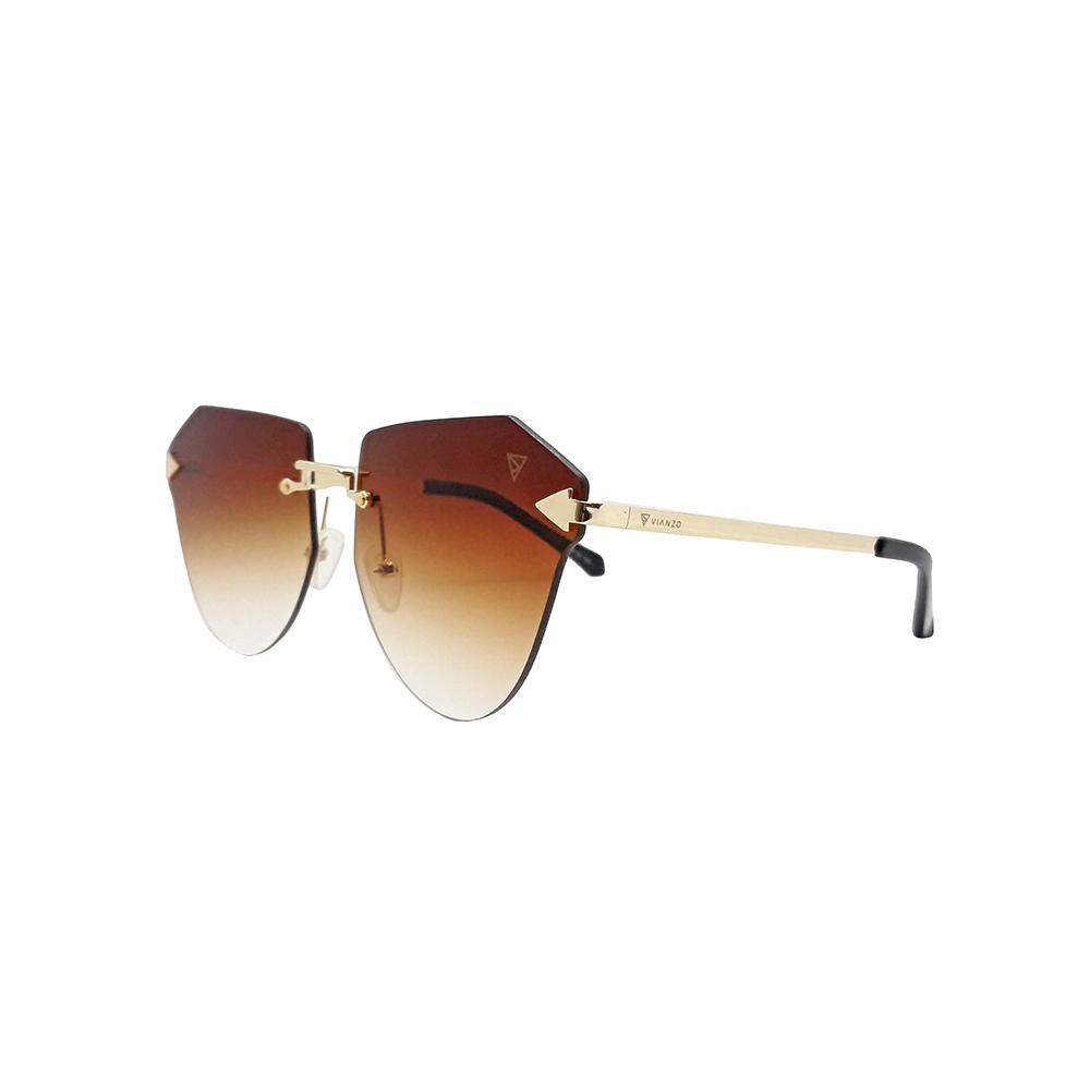 Óculos Solar Feminino Primeira Linha S31160 Marrom Claro Vianzo com Estojo