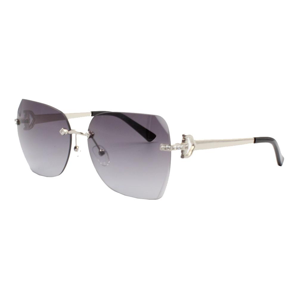 Óculos Solar Feminino Primeira Linha YC3291 Prata e Preto