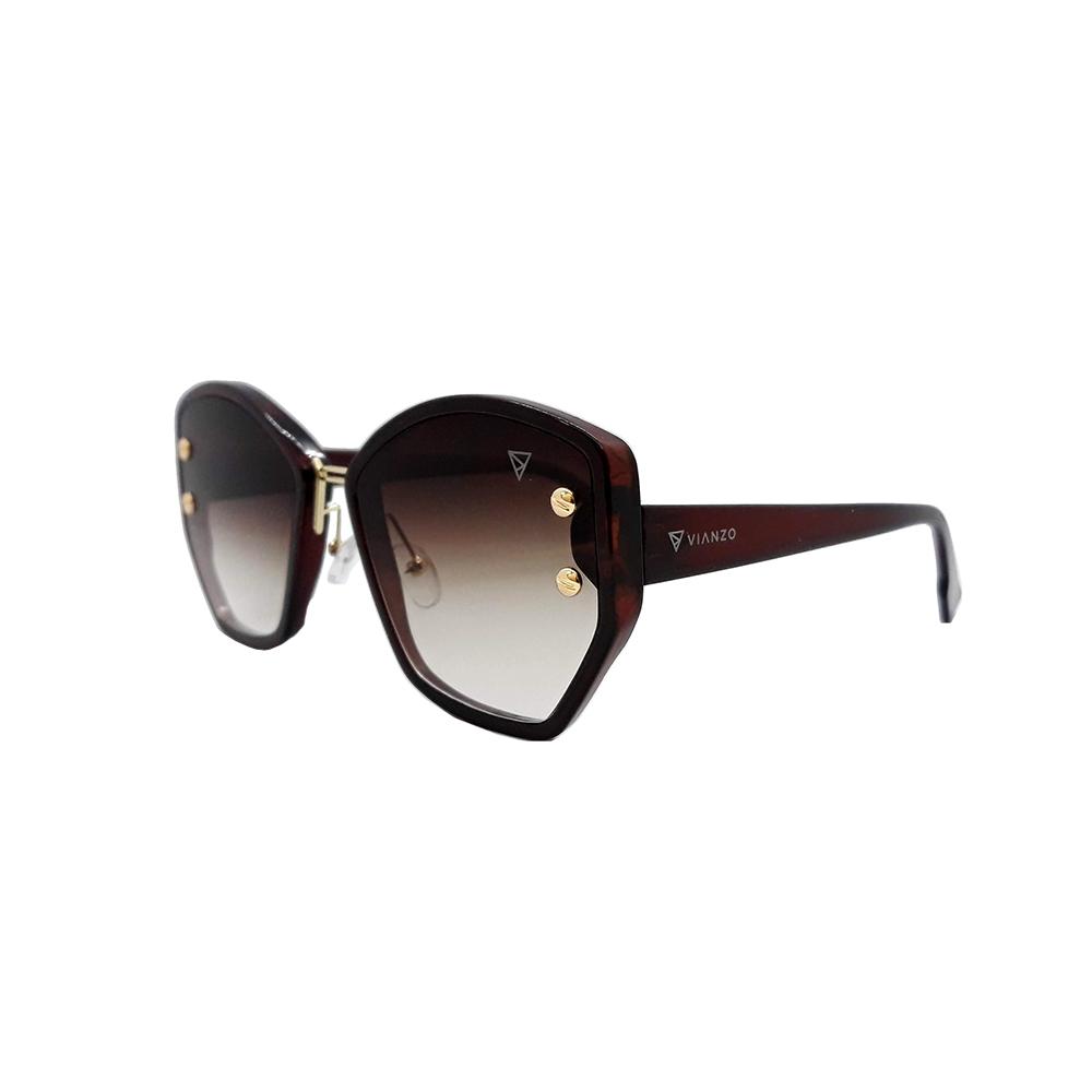 Óculos Solar Feminino S98512 Marrom Vianzo com Estojo