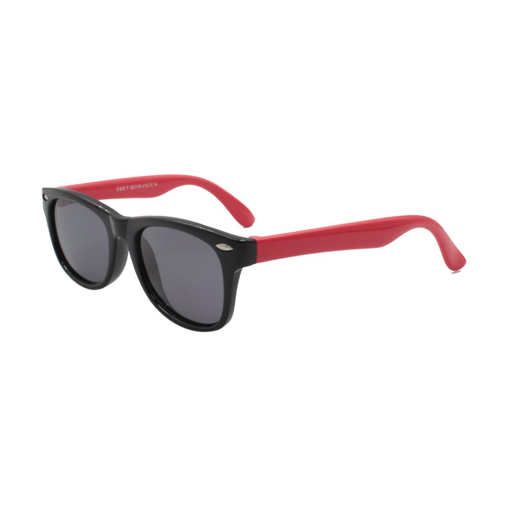 Óculos Solar Infantil Polarizado em Nylon Flexível S802P-C14 Preto e Vermelho