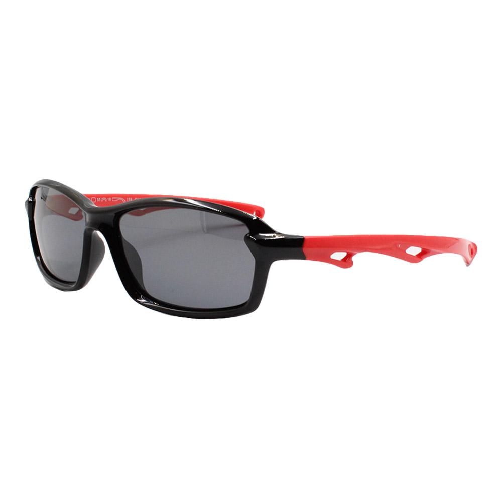 Óculos Solar Infantil Polarizado em Nylon Flexível S8204-C14 Preto e Vermelho