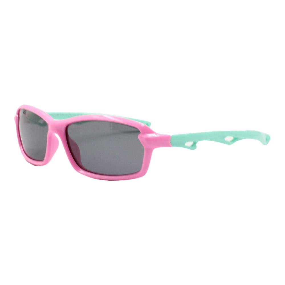 Óculos Solar Infantil Polarizado em Nylon Flexível S8204-C3 Rosa e Verde