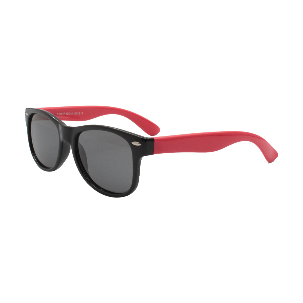 Óculos Solar Infantil Polarizado em Nylon Flexível S826P-C14 Preto e Vermelho