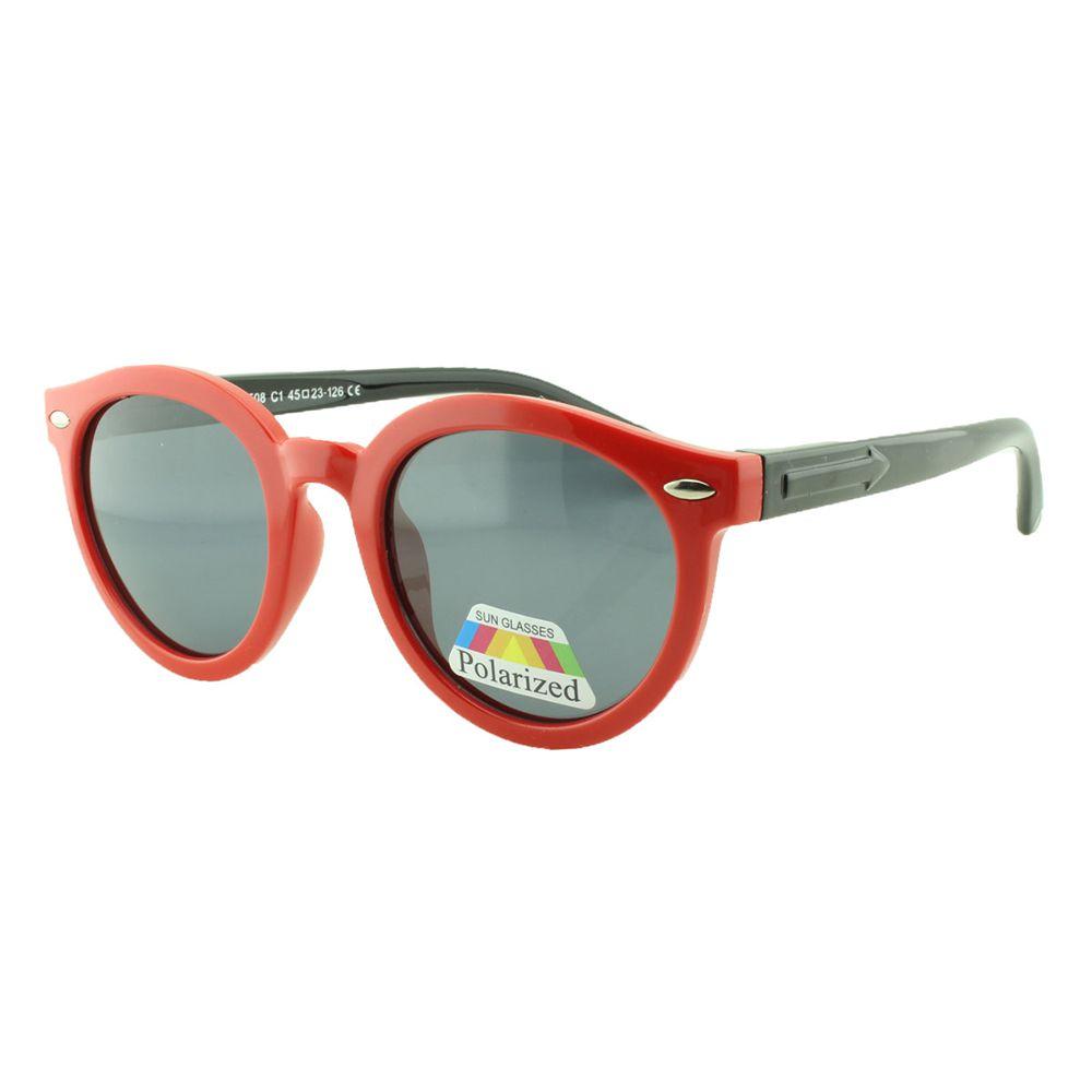 Óculos Solar Infantil Polarizado em Nylon Flexível T1508 Vermelho e Preto