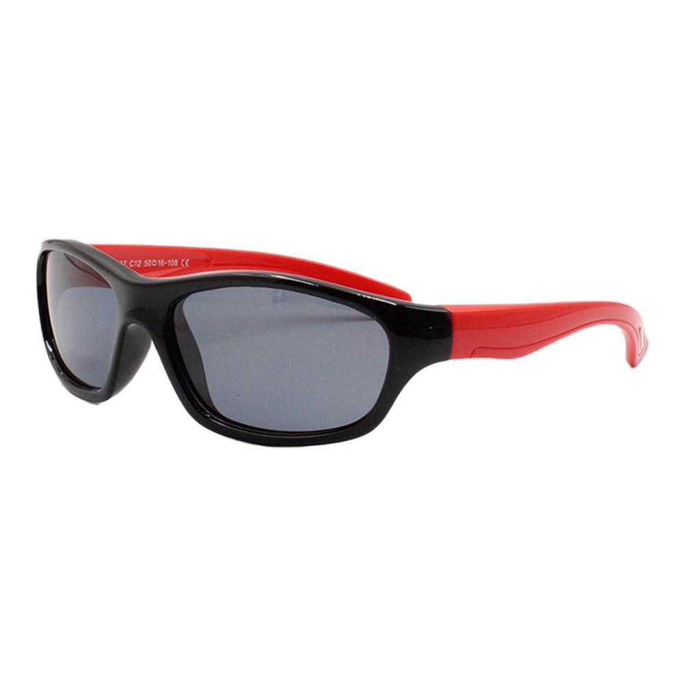 Óculos Solar Infantil Polarizado em Nylon Flexível T1637 Preto e Vermelho