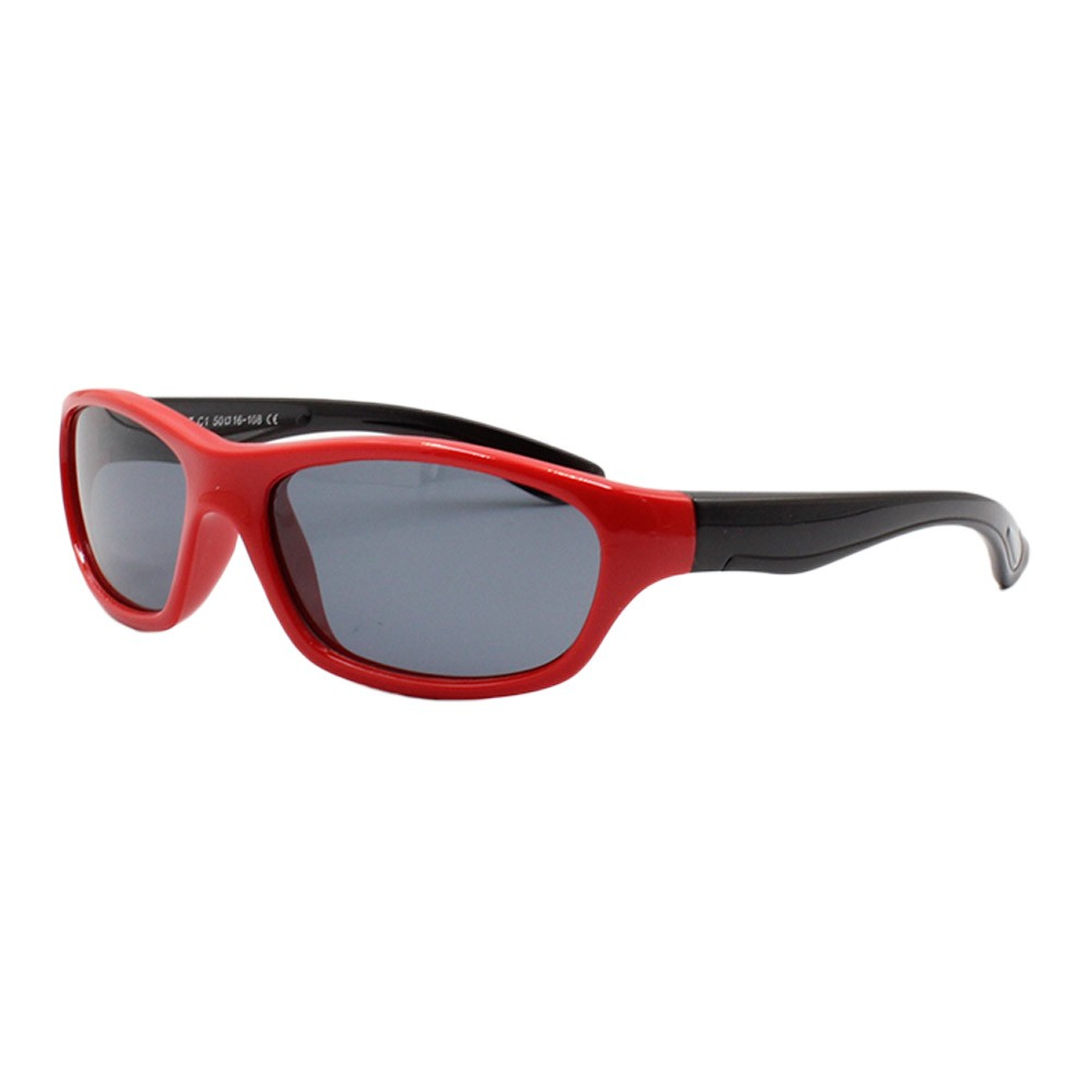 Óculos Solar Infantil Polarizado em Nylon Flexível T1637 Vermelho e Preto