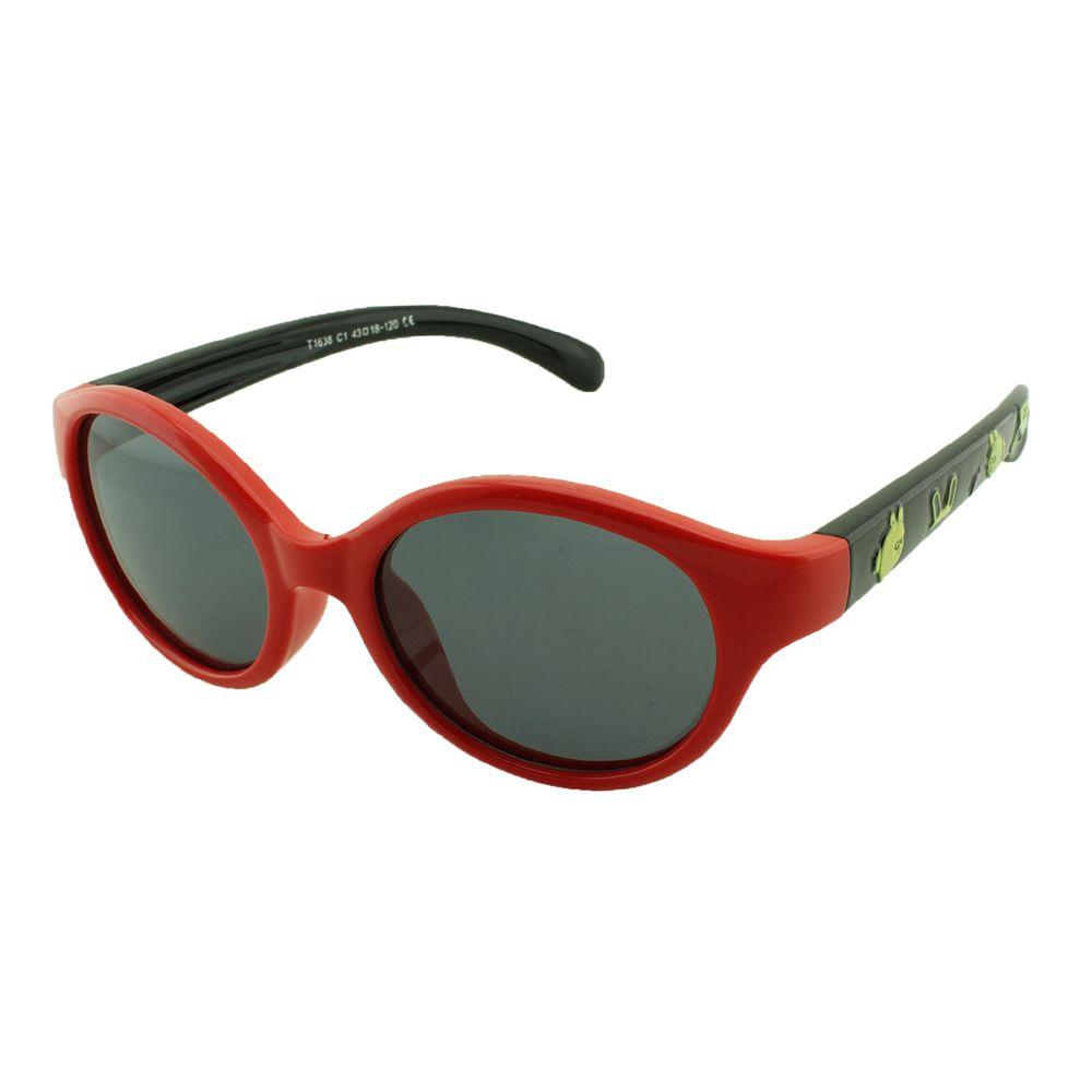 Óculos Solar Infantil Polarizado em Nylon Flexível T1638 Vermelho e Preto