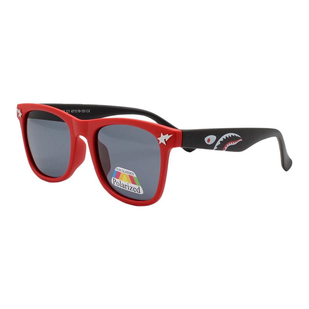 Óculos Solar Infantil Polarizado em Nylon Flexível T1640 Vermelho e Preto