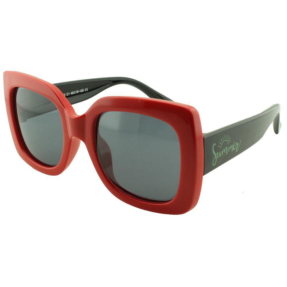 Óculos Solar Infantil Primeira Linha Polarizado T1903 Vermelho e Preto