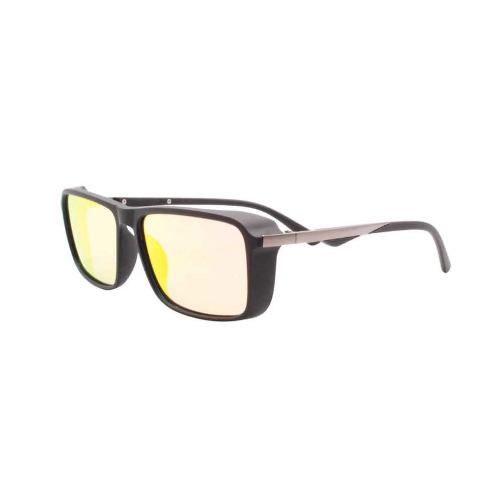 Óculos Solar Masculino Polarizado P8832 Preto e Laranja Espelhado