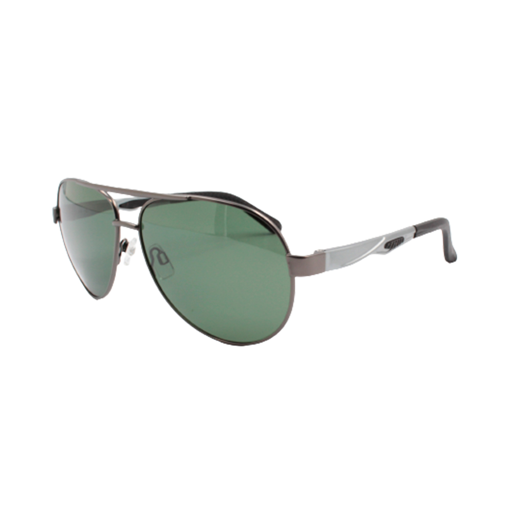 Óculos Solar Masculino Primeira Linha Aviador Polarizado 88004 Grafite e Verde com Hastes de Alumínio