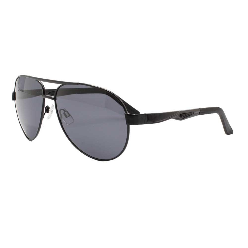 Óculos Solar Masculino Primeira Linha Aviador Polarizado 88004 Preto com Hastes de Alumínio