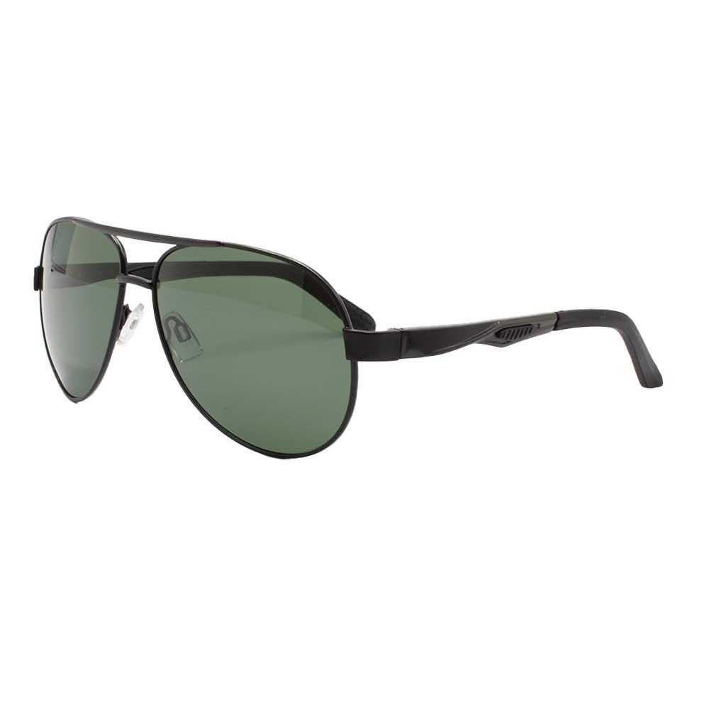 Óculos Solar Masculino Primeira Linha Aviador Polarizado 88004 Preto e Verde com Hastes de Alumínio