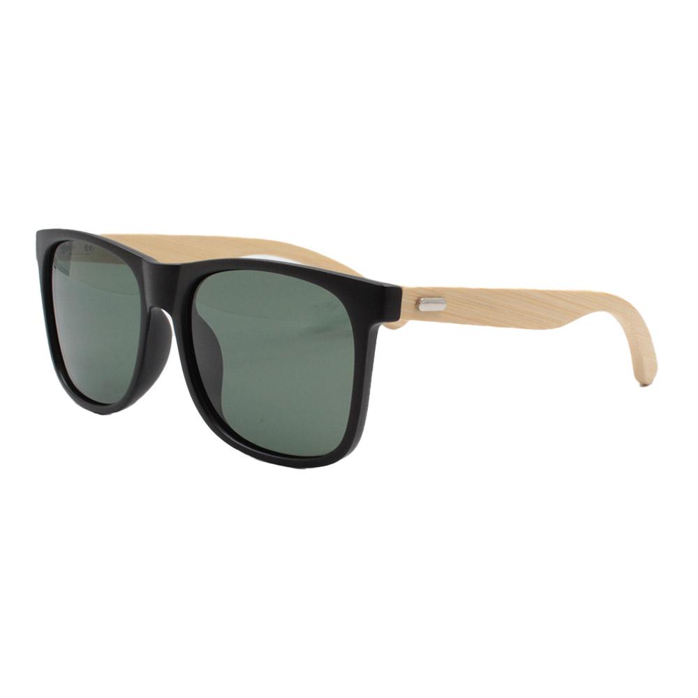 Óculos Solar Masculino Primeira Linha Polarizado 7028 Preto e Verde com Hastes de Bambu