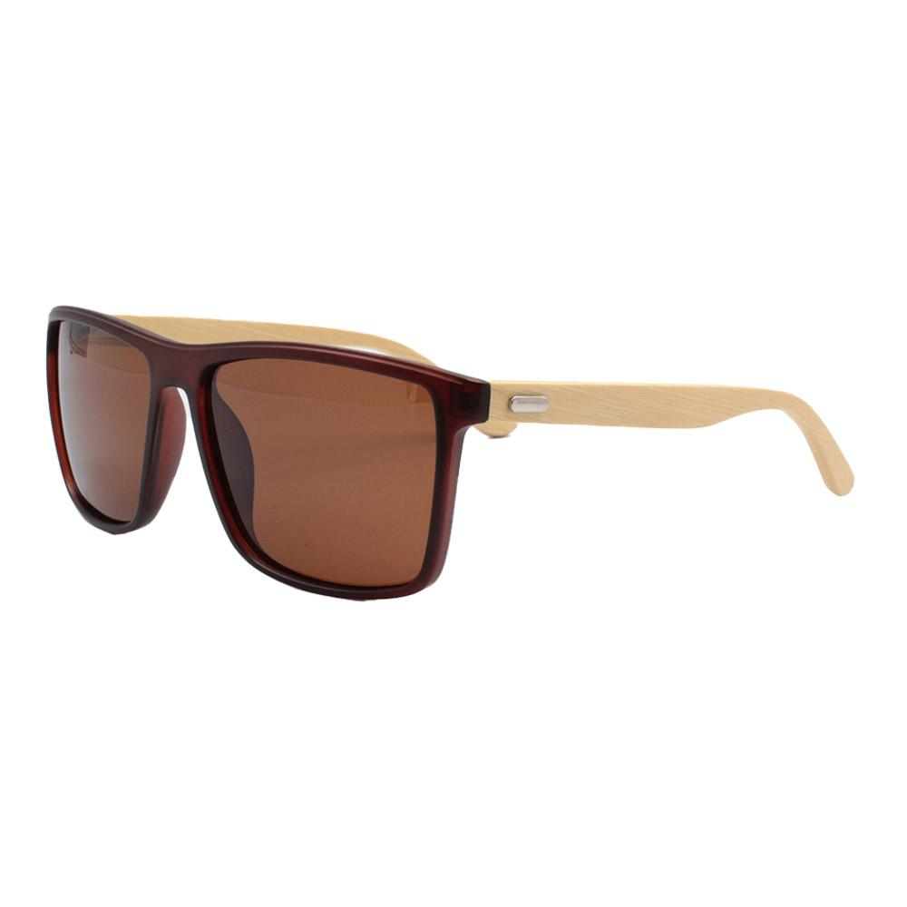 Óculos Solar Masculino Primeira Linha Polarizado 7029 Marrom com Hastes de Bambu