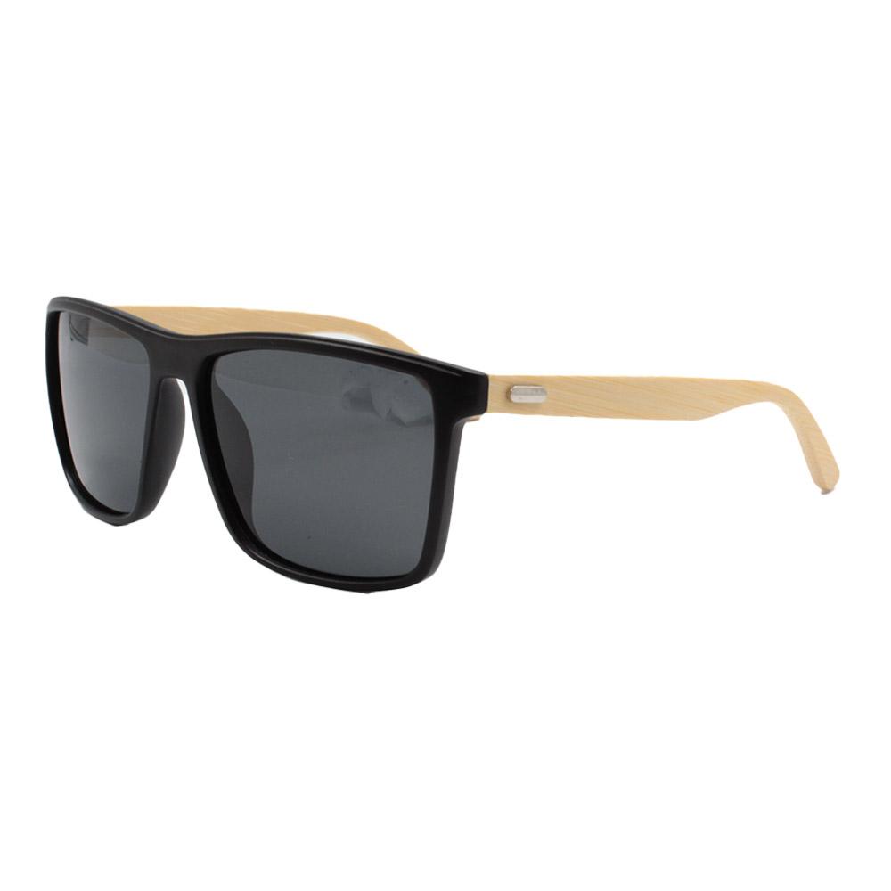 Óculos Solar Masculino Primeira Linha Polarizado 7029 Preto com Hastes de Bambu