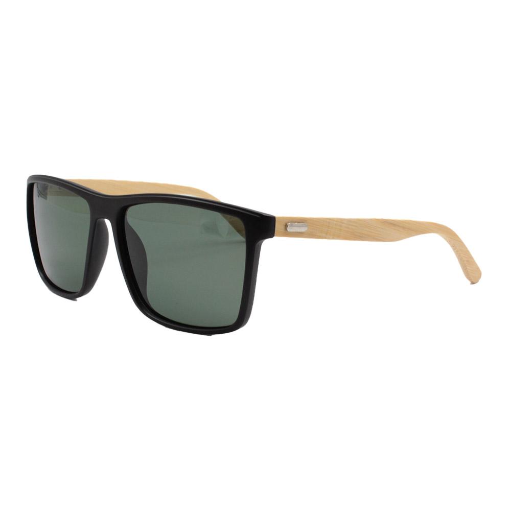 Óculos Solar Masculino Primeira Linha Polarizado 7029 Preto e Verde com Hastes de Bambu