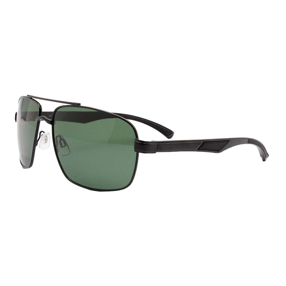Óculos Solar Masculino Primeira Linha Polarizado 88006 Preto e Verde com Hastes de Alumínio