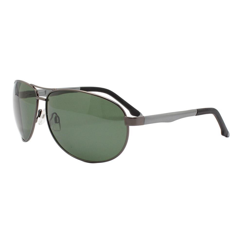 Óculos Solar Masculino Primeira Linha Polarizado 88007 Grafite e Verde com Hastes de Alumínio