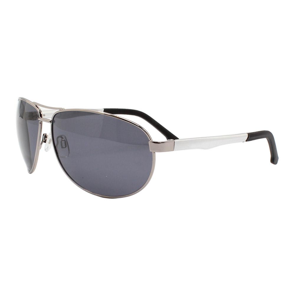 Óculos Solar Masculino Primeira Linha Polarizado 88007 Prata com Hastes de Alumínio