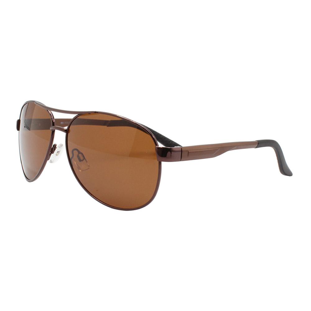 Óculos Solar Masculino Primeira Linha Polarizado 88008 Marrom com Hastes de Alumínio