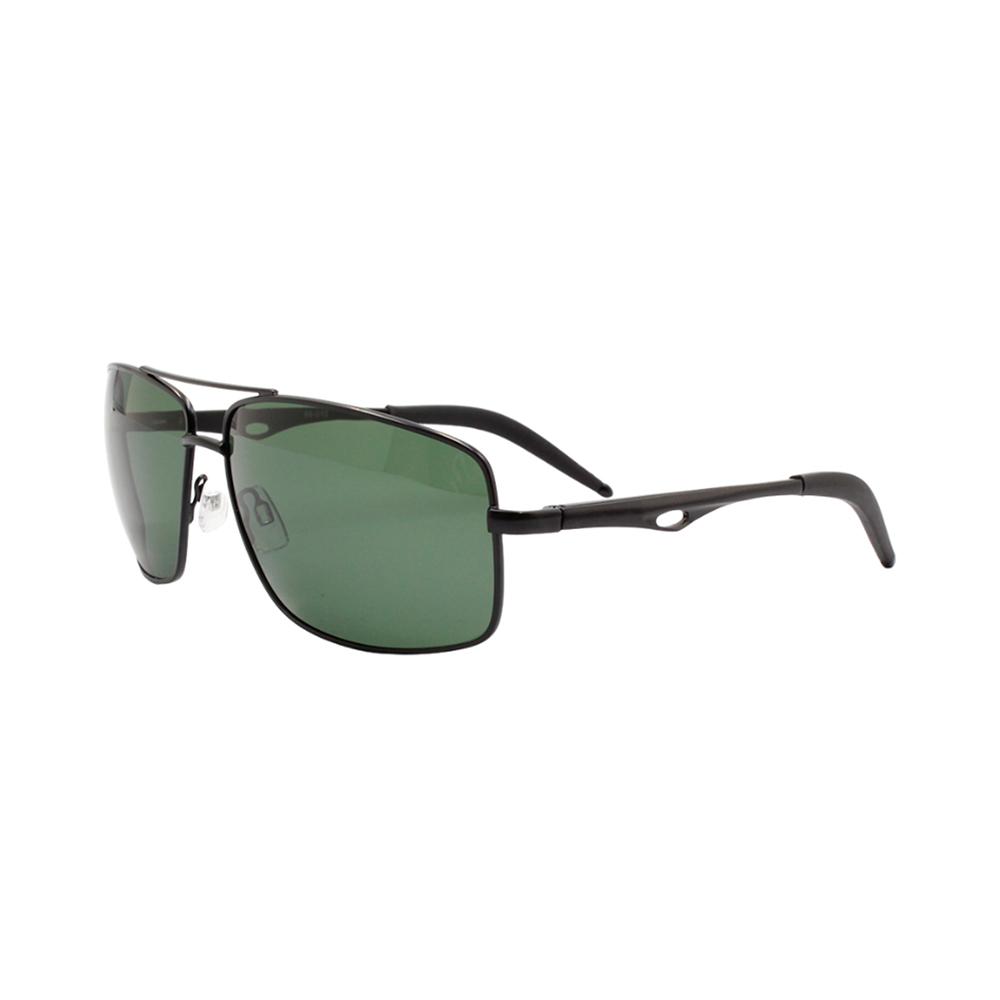 Óculos Solar Masculino Primeira Linha Polarizado 88010 Preto e Verde com Hastes de Alumínio