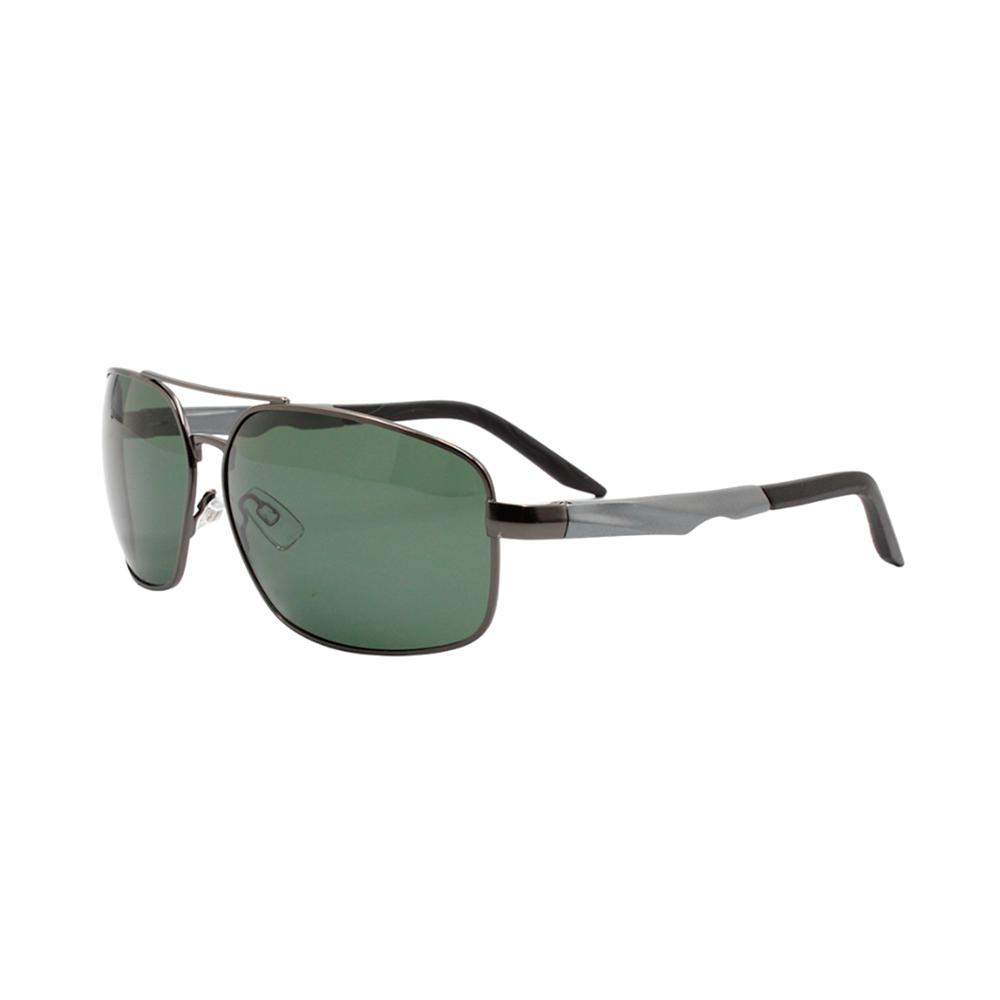 Óculos Solar Masculino Primeira Linha Polarizado 88012 Grafite e Verde com Hastes de Alumínio