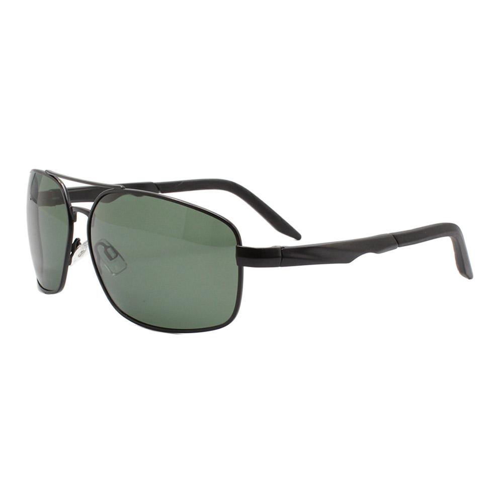 Óculos Solar Masculino Primeira Linha Polarizado 88012 Preto e Verde com Hastes de Alumínio