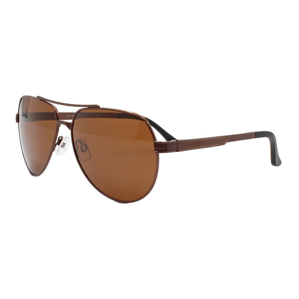 Óculos Solar Masculino Primeira Linha Polarizado 88016 Marrom com Hastes de Alumínio