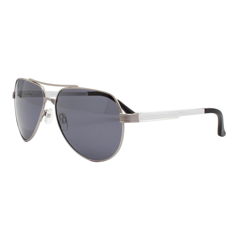 Óculos Solar Masculino Primeira Linha Polarizado 88016 Prata com Hastes de Alumínio