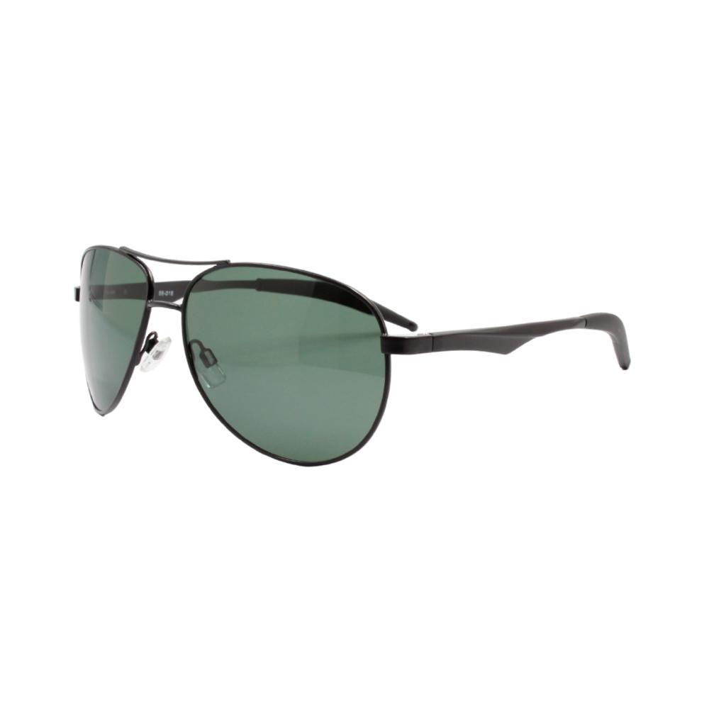 Óculos Solar Masculino Primeira Linha Polarizado 88018 Preto e Verde com Hastes de Alumínio