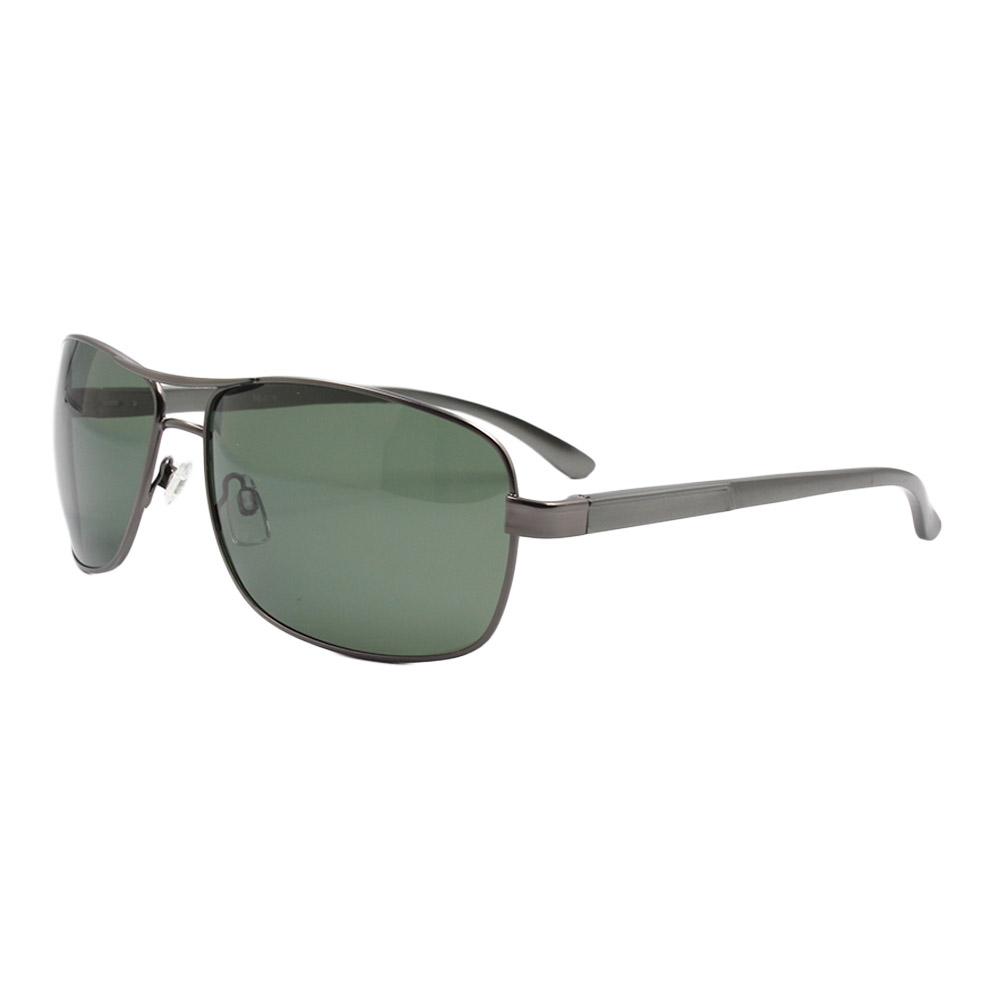 Óculos Solar Masculino Primeira Linha Polarizado 88019 Grafite e Verde com Hastes de Alumínio