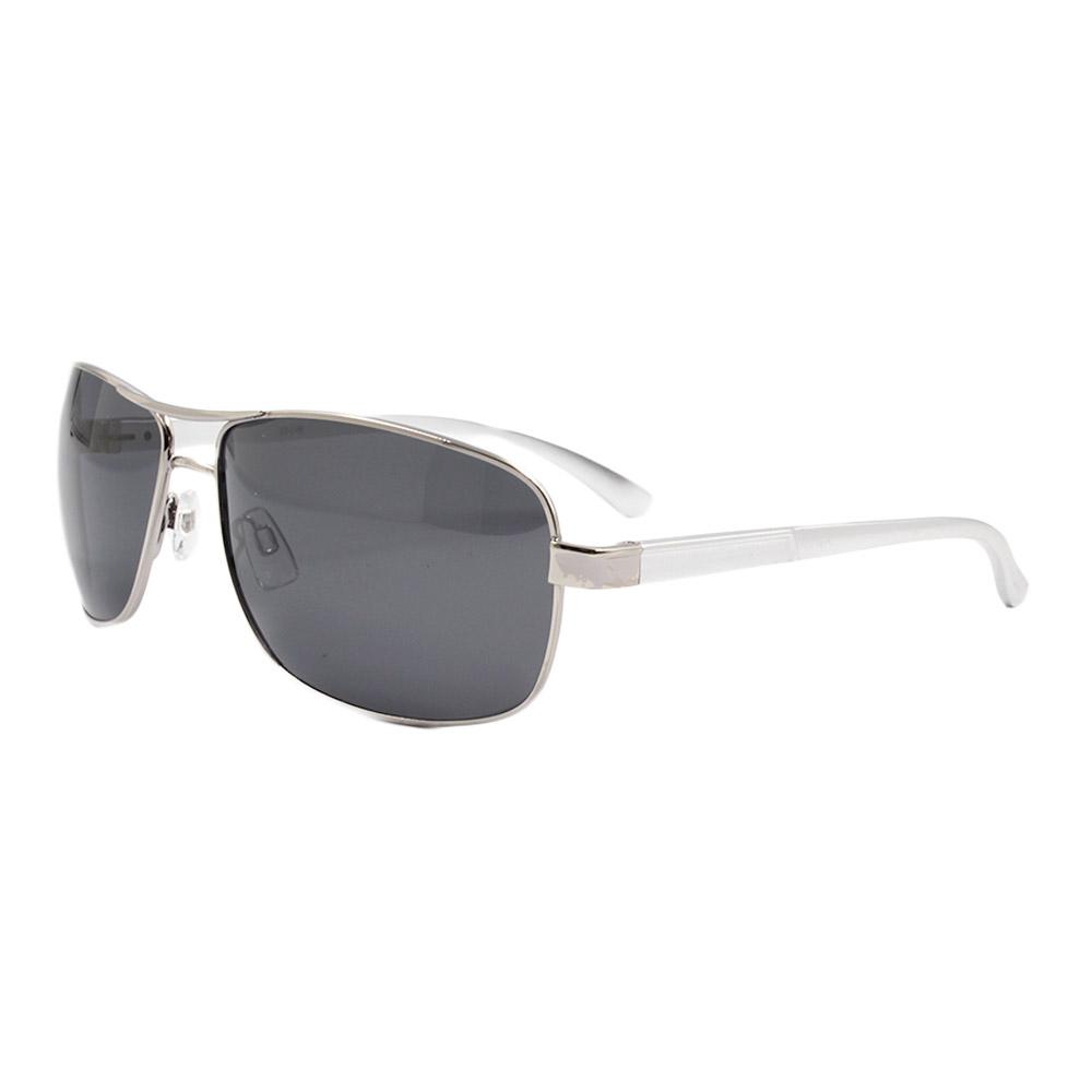 Óculos Solar Masculino Primeira Linha Polarizado 88019 Prata com Hastes de Alumínio