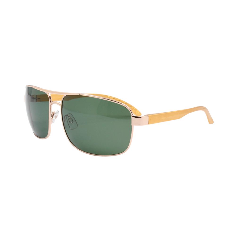 Óculos Solar Masculino Primeira Linha Polarizado 88020 Dourado e Verde com Hastes de Alumínio