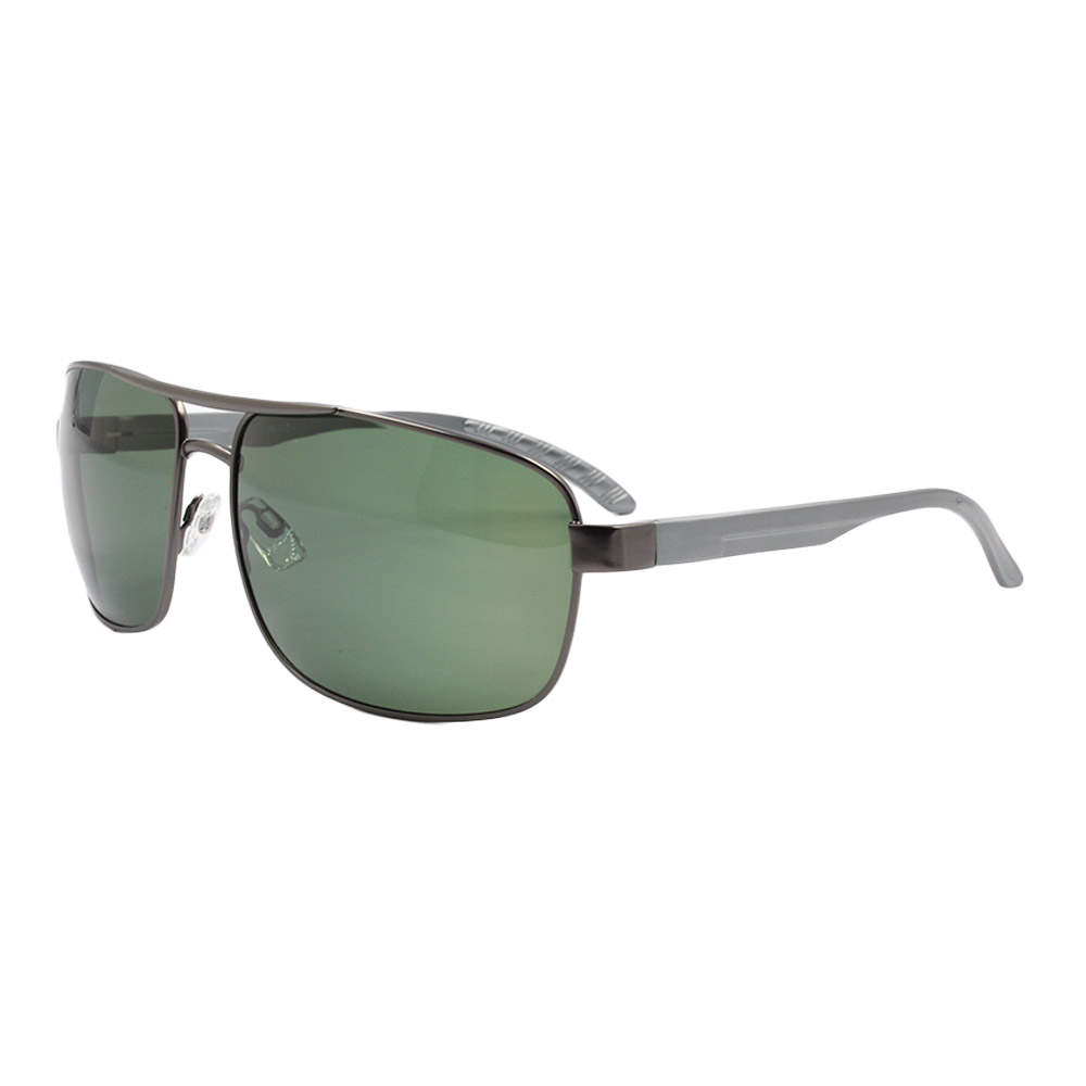 Óculos Solar Masculino Primeira Linha Polarizado 88020 Grafite e Verde com Hastes de Alumínio