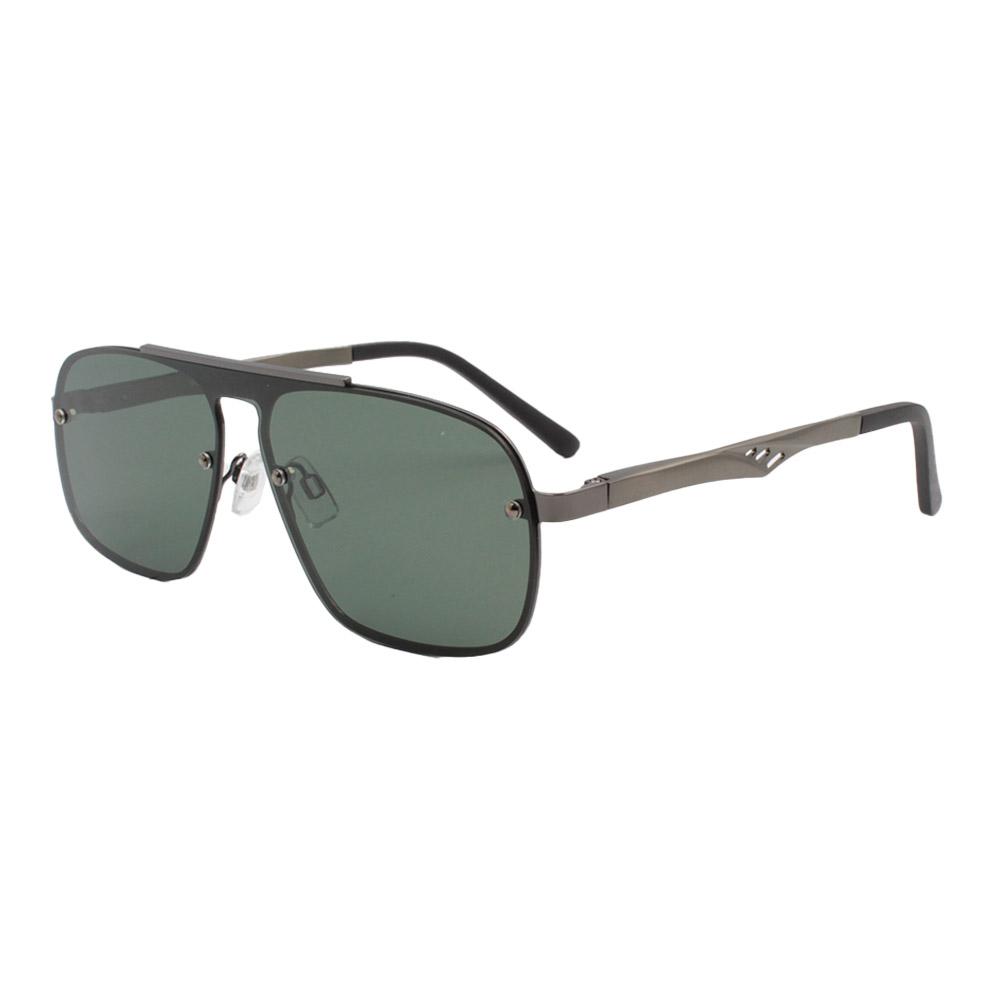 Óculos Solar Masculino Primeira Linha Polarizado 88026 Grafite e Verde com Hastes de Alumínio