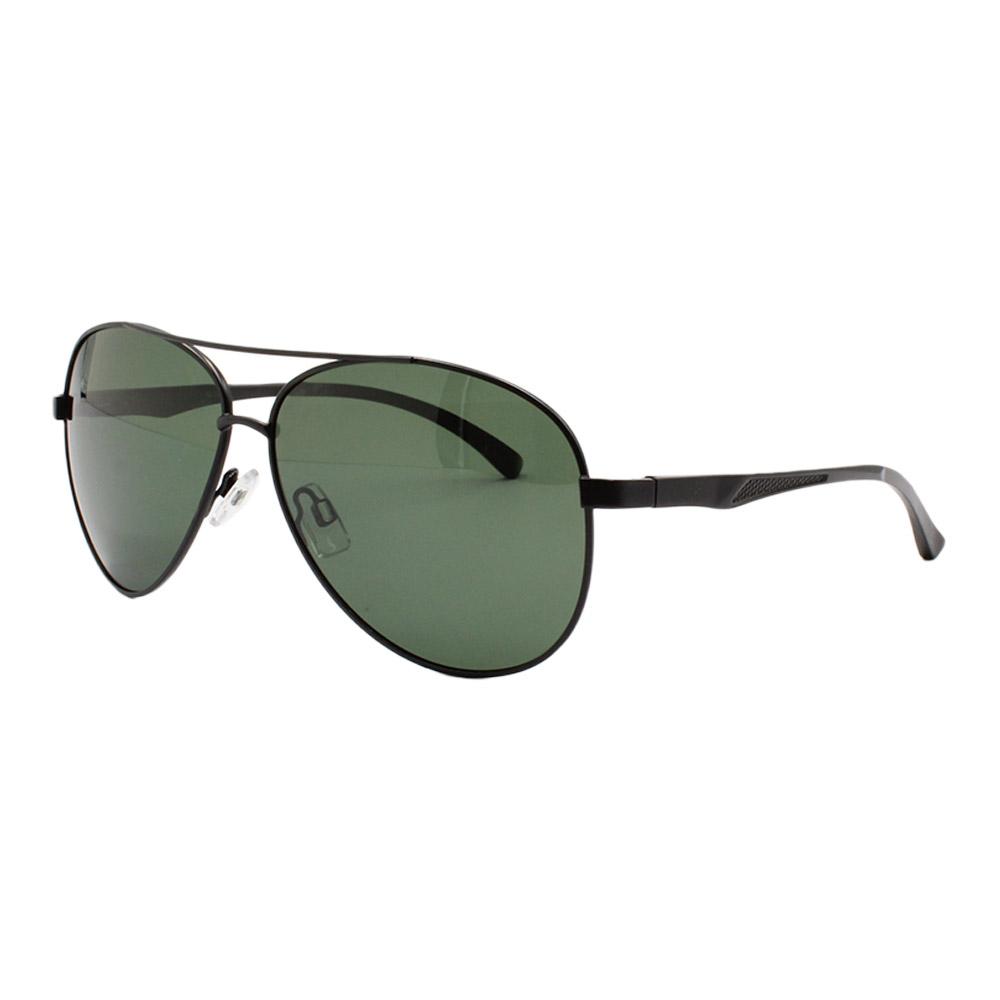 Óculos Solar Masculino Primeira Linha Polarizado Aviador 88001 Preto e Verde com Hastes de Alumínio