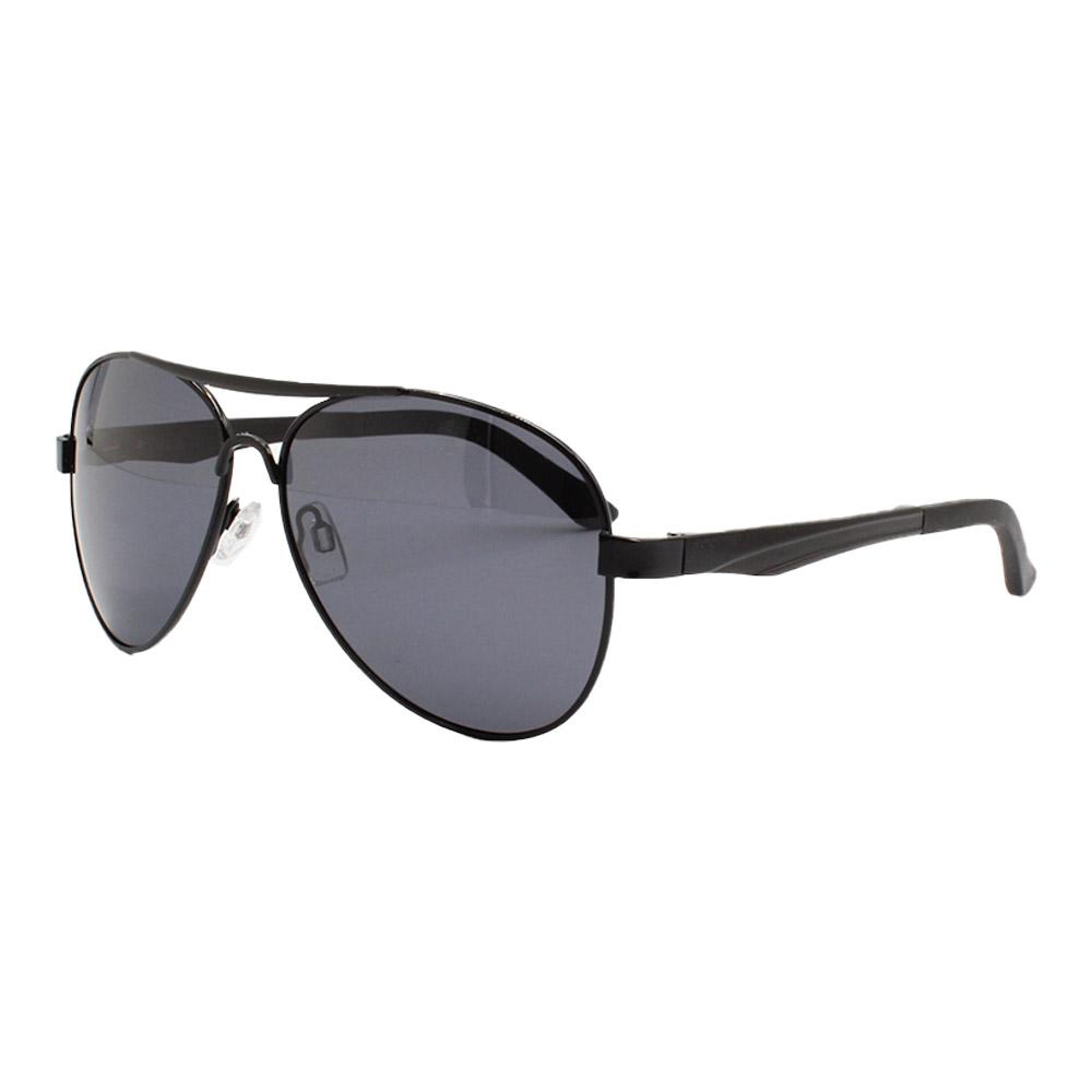 Óculos Solar Masculino Primeira Linha Polarizado Aviador 88009 Preto com Hastes de Alumínio