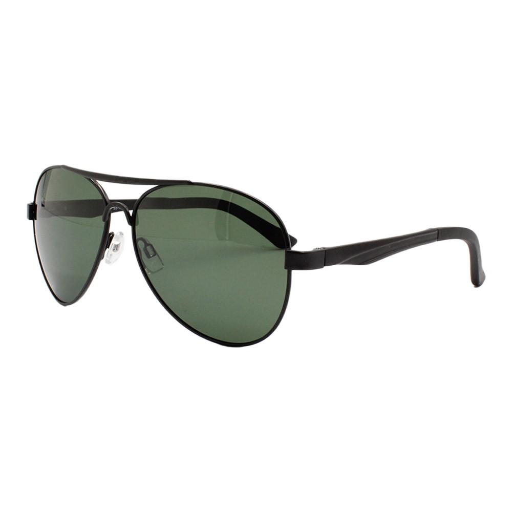 Óculos Solar Masculino Primeira Linha Polarizado Aviador 88009 Preto e Verde com Hastes de Alumínio