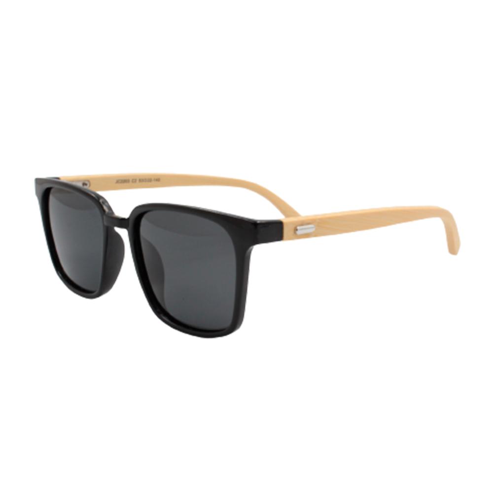 Óculos Solar Masculino Primeira Linha Polarizado JC2203-C2 Preto com Hastes de Bambu