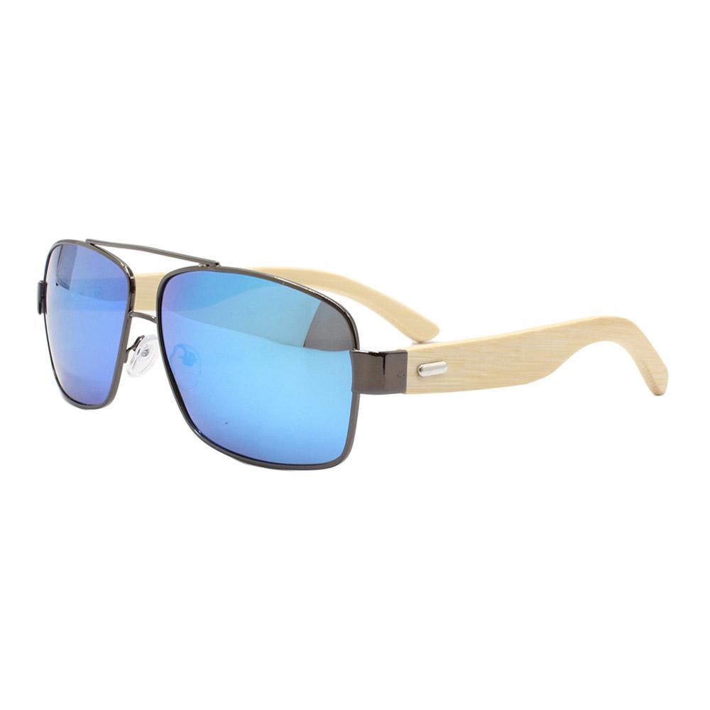 Óculos Solar Masculino Primeira Linha Polarizado ZJ021 Azul Espelhada com Hastes de Bambu