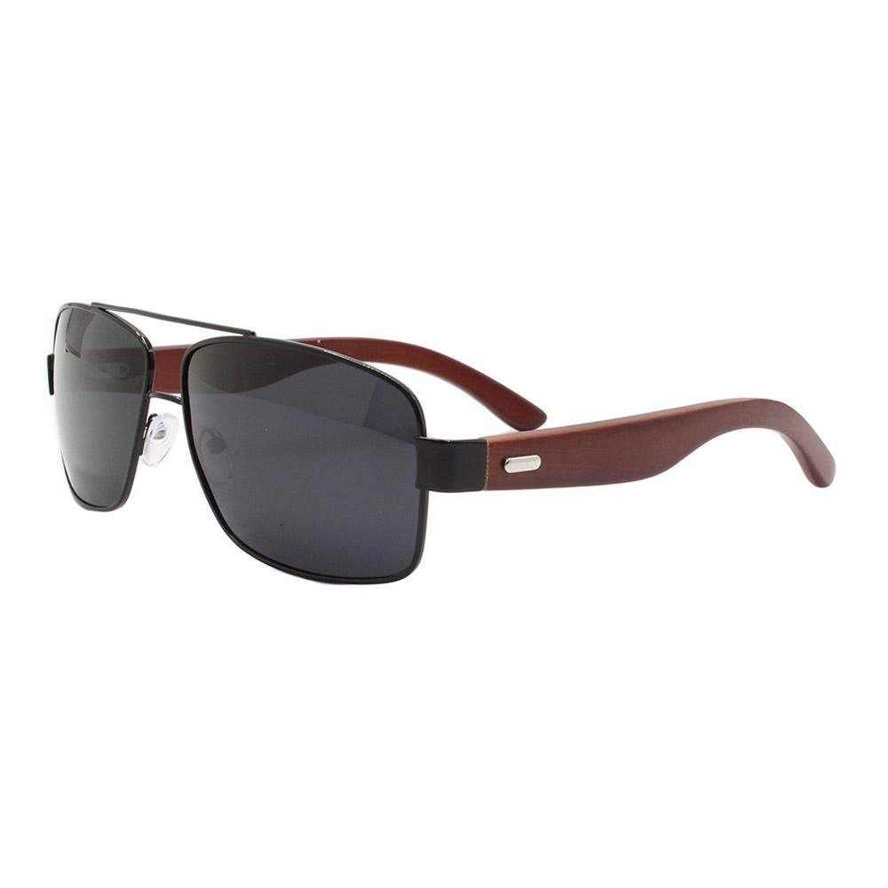 Óculos Solar Masculino Primeira Linha Polarizado ZJ021 Preto com Hastes de Bambu